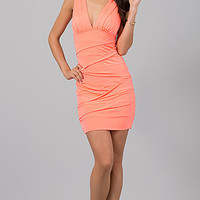 Short Sleeveless Fitted Ruched Dress