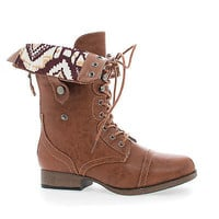 Jetta25AD Cognac Pu By Wild Diva, Mid Calf Foldable Shaft Lace Up Combat Military Boots