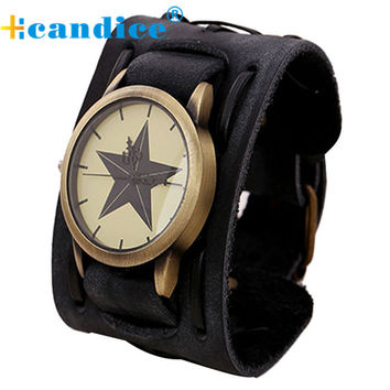 Fantastic 2016 New star Style Retro Punk Rock Brown Big Wide Leather Bracelet Cuff Men Watch WristWatches free shipping May 26