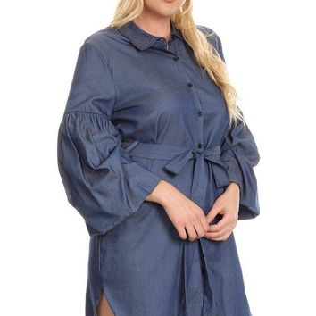 Denim, button up short dress in a relaxed fit, with 3/4 bell sleeves