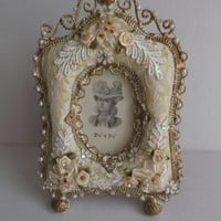 Vintage Handmade Picture Frame Ribbons Beads Crystals Sequins Wire Gold Wash Home Decor