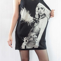 LADY GAGA Bad Romance Born This Way Sexy Singer Punk Rock Tank Top Women Sleeveless Tunic Top Black T-Shirt Singlet Rock T-Shirt Size M L