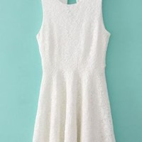 White Sleeveless Embroidery Lace Dress
