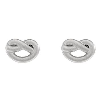 7mm x 10mm (3/8 Inch) Sterling Silver Satin Knot Post Earrings