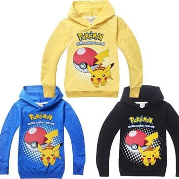 2018 new children's cartoon Hoodie  go Spring summer cotton long sleeved sweater pikachu sport Sweatshirt for boys girlKawaii Pokemon go  AT_89_9