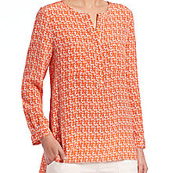 Joie - Seahorse-Print Silk Tunic Top - Saks Fifth Avenue Mobile