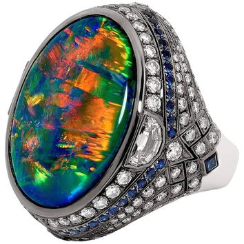 Certified 25.10 Carat Lightning Ridge Black Opal Blue Sapphire Diamond Ring