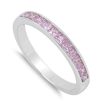 925 Sterling Silver CZ Princess Cut Invisible Set Pink Ring 3MM
