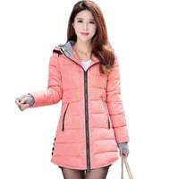 Womens Winter Hooded Warm Coat Candy Color Padded Long Jacket