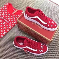 Vans x Supreme x LV Old Skool Flats Sneakers Sport Shoes red white black