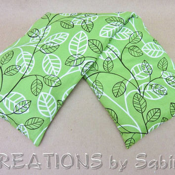 Neck Wrap, Corn Pillow, Microwaveable Hot Cold Pack, Shoulder, Back, washable cover, green forest vines leaves nature READY TO SHIP (142)
