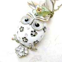 Rhinestone Owl Necklace with Green Flower Charm - Sparkly White Bird Vintage Look Pendant