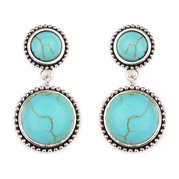 Turquoise Round Dangle Earrings