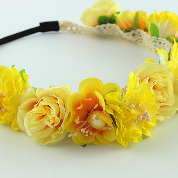 Yellow small flower Forehead Hair beach Wedding Wreath Head Band Girls  Hairband Headbands Festival travel Party tiara