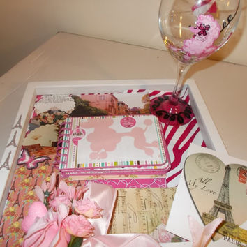 Half Price PARIS Gift Set COFFEE TABLE Book Embellished Picture Album Pink Poodle Wine Glass Paris France Love Card Perfect For Honeymooners
