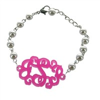 Monogrammed Acrylic Bracelet on Silver and Pearl Chain