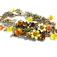 Autumn Boho Bracelet Made With Swarovski Crystal Elements, Fall Jewelry