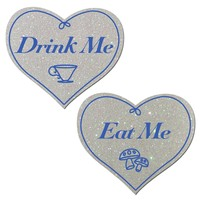 Love: Eat Me Drink Me on White Glitter Heart Nipple Pasties