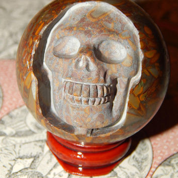 SKULL Carving Genuine BAMBOO JASPER Orb - Genuine Bamboo Jasper Gemstone Sphere - 50mm Gemstone - Crystals - Chakra Stones - Gemstone Skull