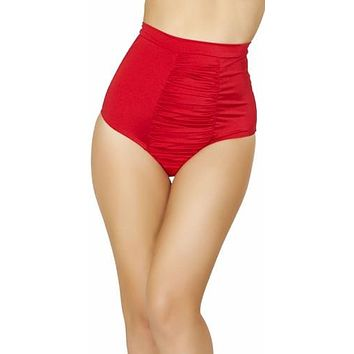 Sexy Red Ruche Gathered Front Slimming High Waist Pin Up Bikini Bottoms