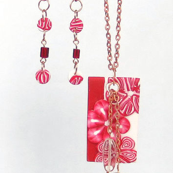 Red and White Polymer Clay Millefiori Necklace and Dangle Earrings - Vintage Copper Chain - Floral Mixed Media Jewelry Set - Christmas Gift
