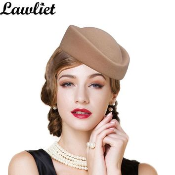 Fascinator Hats for Women Beret Wool Felt Winter Pillbox Hat Cocktail Party Wedding Fedoras Stewardess Ladies Millinery Hat Base