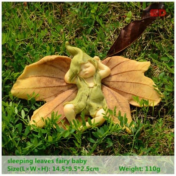 ED original design leaf fairy angel figurine baby outdoor statue Miniature fairy garden ornament Christmas decoration for home