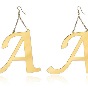 Goldtone Letters of the Alphabet Drop Earrings - 10 Letters to Choose From