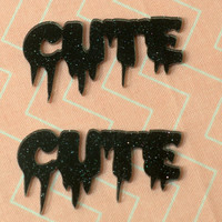 "Black Galaxy Glitter Large ""CUTE"" Cabochons (2)"