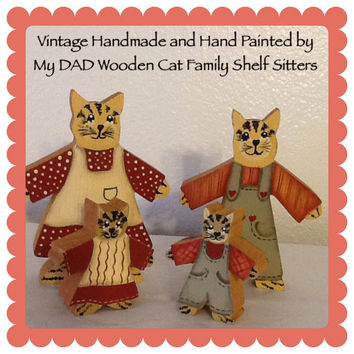 Vintage Wooden Cat Family Shelf Sitters-Handmade and Hand Painted by DAD-Country Decor-Home Decor-Cottage Chic Decor-Kid Decor-Cat Collector