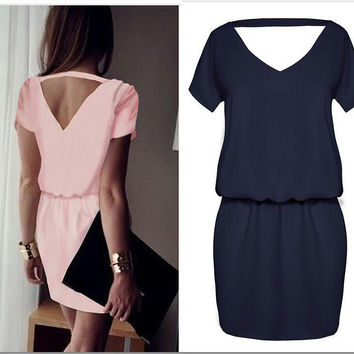 Dark Blue Cutout  Back  Short Sleeve Casual Dress