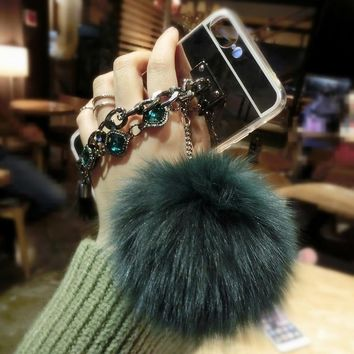 Fox Puff Pompoms Fur Ball Phone Cases Shell