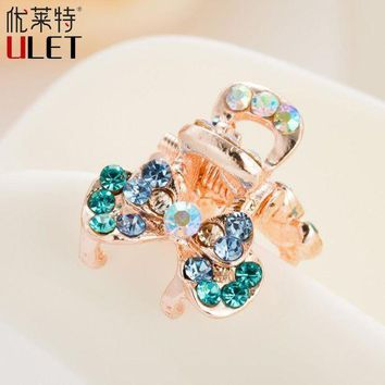 CREYONRZ Mini Cute Crab For Hair Trendy Flower Butterfly ULET Hair Clip Rhinestone Claws Imitation Crystal Simulated Decorated  Metal