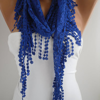Cobalt/Blue Lace Scarf- Shawl Headband - Cowl with Lace Edge by DIDUCI
