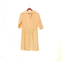 1950s Crimplene Dress, Beige Costume Dress, Shirt Dress With Cute Buttons, V-neck, 3/4 Sleeves