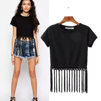 Stylish Round-neck Short Sleeve Crop Top Tassels Patchwork Pullover Women's Fashion Tops T-shirts [5013393092]