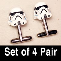 Groomsmen Gifts, Wedding, Storm Troopers on silver toned cufflinks in gift box, Set of 4 Pair