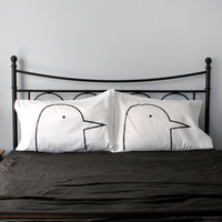 Unique Wedding Gift, His, Hers Love Birds Pillow case Set 300TC Standard or Queen bedding, gift for couples, classic black & white