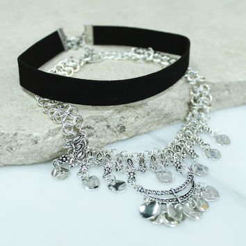Black And Silver Layered Choker