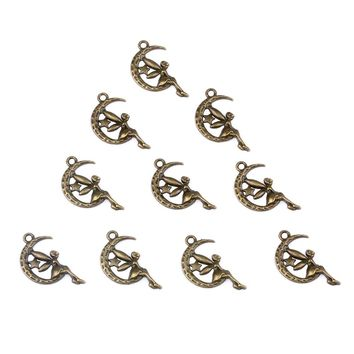 20 Pieces Guardian Angel Moon Star Charms Findings for Jewelry Pendants Necklace Making 24mm X 14mm