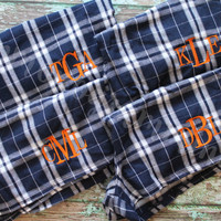 Quick Turnaround- Monogrammed Plaid Pajama Boxer Shorts: Junior Size- Great for Bridesmaids and Weddings!
