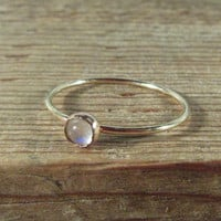 Stacking Ring Gold with Rainbow Moonstone Gemstone