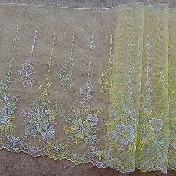 Lace trim Light Yellow Mesh Lace Floral Embroidered Lace Trim DIY Handmade Accessory 7.48 inches wide. 2 yards A0885