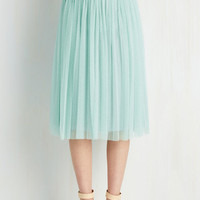 ModCloth Pastel Long Full Patron Prestige Skirt in Seaglass