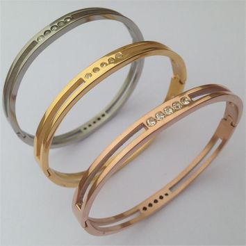 Titanium Steel  Stackable CZ Crystals Bangles