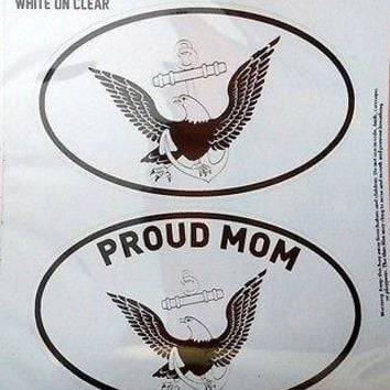 Navy PROUD MOM 2-Pack EURO STYLE Auto Decals Sticker United States US Military