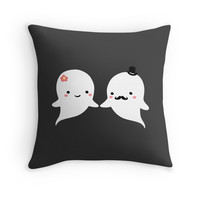 Cute Ghost Couple Throw Pillow