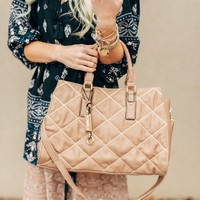 High Noon Taupe Quilted Purse