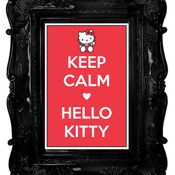 Keep Calm -heart- Hello Kitty (Sanrio) 8 x 12 Keep Calm and Carry On Parody Poster