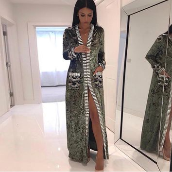 2018 Newest Women Jacket Spring Celebrity Party Long Sleeve Deep V-Neck Velvet Diamonds Beading Sexy Elegant Women Fashion Coat